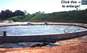 Installation of 80-mil HDPE Geomembrane in a ringwall area to provide secondary containment, with leak detection, under a steel tank that is to be erected.