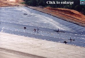 Installation of 60-mil HDPE Geomembrane and Geocomposite at a landfill site in the southeastern United States.