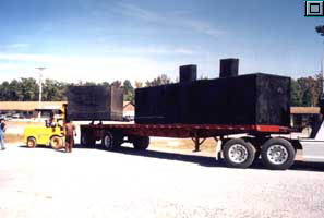QLC fabricated Agru Sure Grip Sump Liners loaded on flatbed truck for shipping to jobsite.